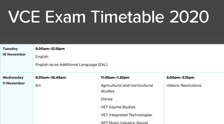 Banner of VCE Timetable 2020