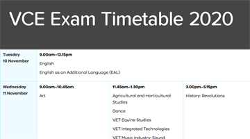 Thumbnail of VCE Timetable 2020