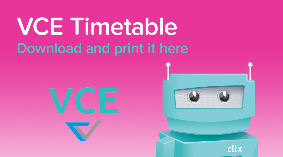 Banner of VCE Exam Timetable 2016